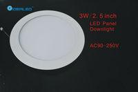 Rounded 3W Led panel light 8pcs/lot New Ultra thin design downlight AC90-265V free shipping