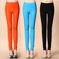 A spring autumn summer candy color pencil pents skinny feet pants hight waist slim elastic trousers ninth pants capris