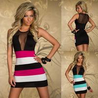 New 2014 Dress Women Mesh Patchwork Strips Bodycon Mini Dress Fashion Vestido Sexy Club Dress Female Vestido Plus Size XL