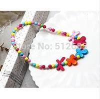 {Min.order $15}  12pcs/Lot New Princess/Girl/Kids/Children Kitty Colorful Plastic Flower Necklace