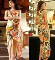 New 2014 Women Summer Print Sleeve Cocktail Dovetail Party Long Dress Chiffon Maxi Beach Bodycon Women Clothing roupas femininas