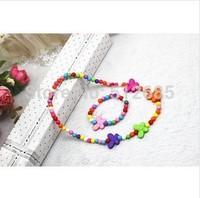 {Min.order $15}  12sets/Lot New Princess/Girl/Kids/Children  Colorful Plastic Butterfly Necklace with Bracelet
