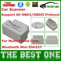 2014 Latest Version Car Scanner White Mini Elm327 Bluetooth OBD2 V2.1 Diagnostic Interface Wireless Super Elm 327