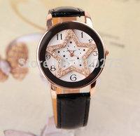 Free shipping Fashion Leather Strap Women Dress Watch stylish Quartz Watches women rhinestone star watch diamond wristwatch