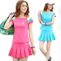A casual short sleeves sport suit set lady women patchwork tennis skirt clothes wear jogging running vollyball badminton M-XXL