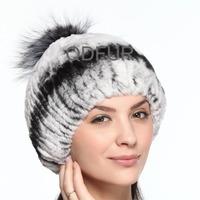 Handmade Ladies' Genuine Stripe Rex Rabbit  Fur Beanies Caps Silver Fox Fur Ball Winter Women Fur Elegent Hats QD70090
