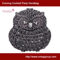 Multicolor diamond studded quality wedding handbag - fashion lady mini purse - owl metal clutch bag