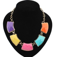 5 colors Bohemia Super Star Fashion Exaggeration Sweet Elegant Arc Geometry chain Statement Necklace for women 2014 PD24