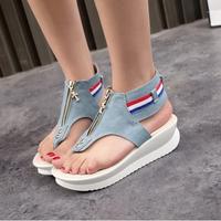 Free shipping 2014 Newest Designer Summer Punk women sneakers,platform wedge sandals,denim canvas shoes zipper flip-lops