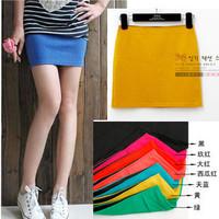 2014 New Arrival Hotsale summer assorted colorsKorean candy color thread cotton bag hip A-skirt  skirts miniskirt
