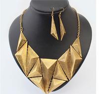 Free shipping Sistema de la joyeria hot sale ladies vintage statement metal chokers necklace fashion geometric jewelry sets 2014