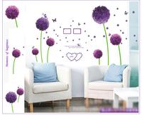 Wall Stickers Purple Dandelion Romance Decoration Wall Hangings Stickers Wall Stickers Home Decor Stickers Wall Poster 60*90CM
