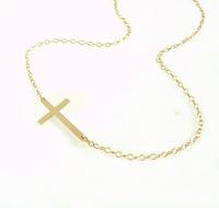 Religious sideways Cross Chain Necklace  14K Gold Plated Religious sideways Cross Chain Necklace  for women 2014
