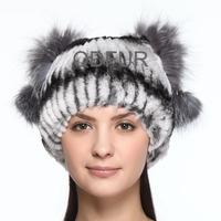 Autumn Winter Ladies' Genuine Natural Rex Rabbit Fur Hats Silver Fox Fur Ball Women Fur Fashion Headgear Gorro Touca QD70098
