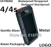 EXTREME Waterproof Dropproof Dirtproof Shockproof Aluminum Case for iPhone 4 4S Metal Cover Gorilla Glass Retail Packaging