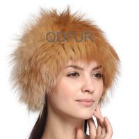 Handmade Autumn Winter Ladies' Genuine Real Knitted Fox Fur Hats Women Fur Fashion Caps Headgear QD70100