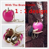 2014 Newest 3D Designer Famous Brand Handbags Women Acrylic Apple Shape Clutches Sweet Ladies Chain Messengers Evening bag