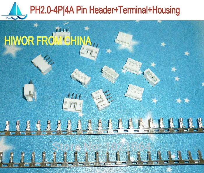 (200sets/lot) PH2.0 4P 4Pin 180degrees Connector,Pitch:2.0MM, 4A 180 degree Pin Header + Terminal + Housing, PH2.0-4P(China (Mainland))