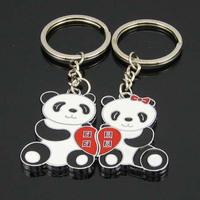 Free shipping Couples panda reunion key chain Christmas