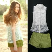 G tops women clothing 2014 women organza embroidery casual set top twinset shorts silk women shirt blouse for women free ship