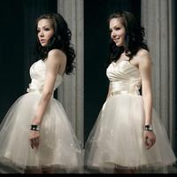2014 New  tube top sister dress white married  evening dress short design keen length dress