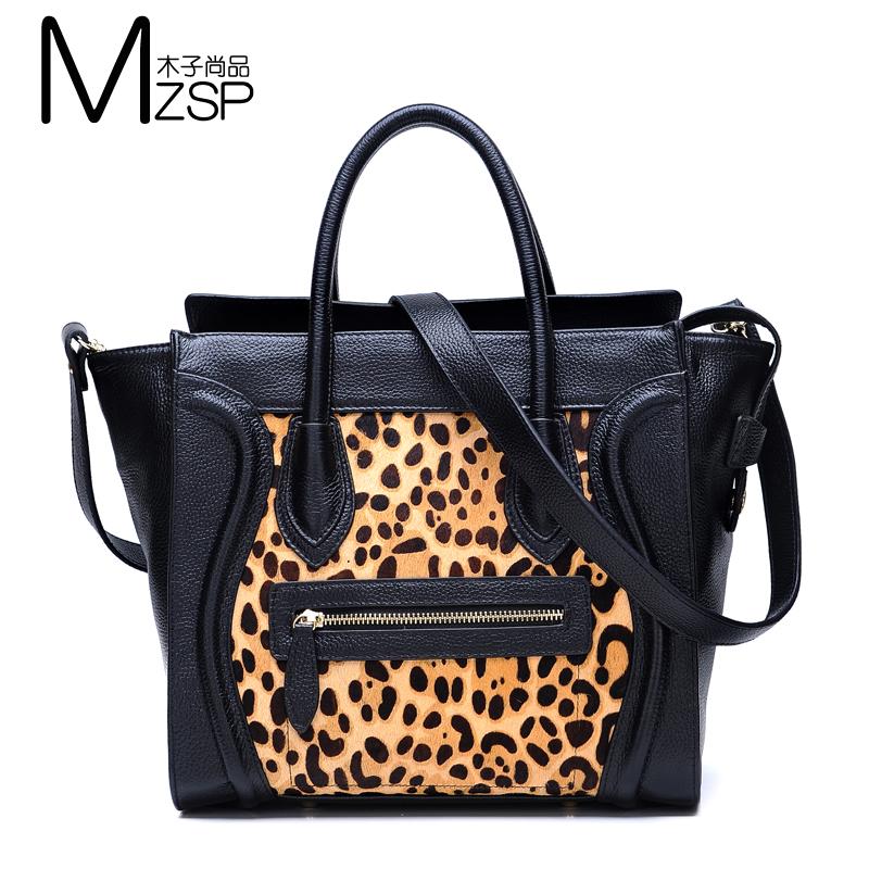 free shipping handbag designer names high quality women's fashion smile tote bag ladies genuine leather leopard print handbags(China (Mainland))