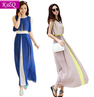2014 New Summer Women Dress  Bohemian Long Beach Dress Fashion Chiffon Dress Free shipping