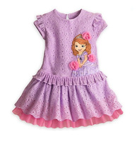 2014 new arrival girls princess dress beautiful purple short sleeve summer baby girl dress elegant children party dresses