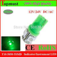 10pcs 80-90LM  T10 DC 9V-14V SMD 5050 5 LED 194 168 red/bule/white/green led light Wedge Car T10 led light