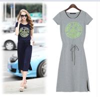 2014 new  European Street fashion dress  summer fashion lacing print short-sleeve dress full dress woman's  clothing