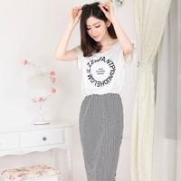 C women's 2014 summer dress women casual dresses new European leg round neck letters Slim Striped Long dress free shipping