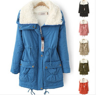 Women's Down Parkas 2014 Autumn-Winter Loose drawstring waist large lapel lamb women jackets coats outerwear