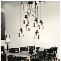 6 Lights Loft Vintage industrial Spider Arms Pendant Light Dining Room Hanging Fixture Kitchen Room suspension Lighting