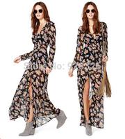 Free Shipping Women Casual  Multi-Color Dip Dye Floral Shirred Waist Chiffon Long Cardigan Shirt Blouse Maxi Dress