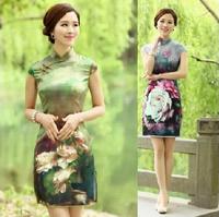 2014 Summer Fashion Chinese Style Cheongsam Autumn Silk One-Piece Dress National Trend Vintage Short Qipao Dress