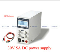 New 150W 30V, 5A Digital LCD display adjustable,Portable DC Switching Power Supply Output Current: 0~3A /0~5A