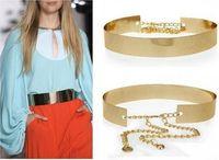 Women Gold Full Metallic Bling Mirror Plate Wide Waist Metal Chain Skinny Belt 63486