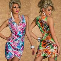 Summer dress New 2014 spring femininas Free belt Flemenco Sexy mini novelty Bodycon Ethnic print Female Vestido
