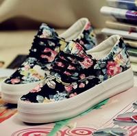 2014 spring summer women sneaker canvas shoes floral flowers platform flat casual sport running shoes fashion designer brand