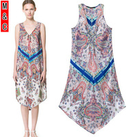 M&C S26 free shipping 2014 new arrival fashion spring summer paint Bohemian sleeveless casual long maxi sexy dress women