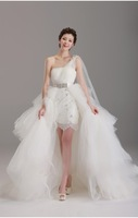 Sexy 2014 Wedding Dress White Two-In-One Sheath One-Shoulder Floor-Length Tulle Lace With Bead Lace-Up Flower(S) Wedding Dress