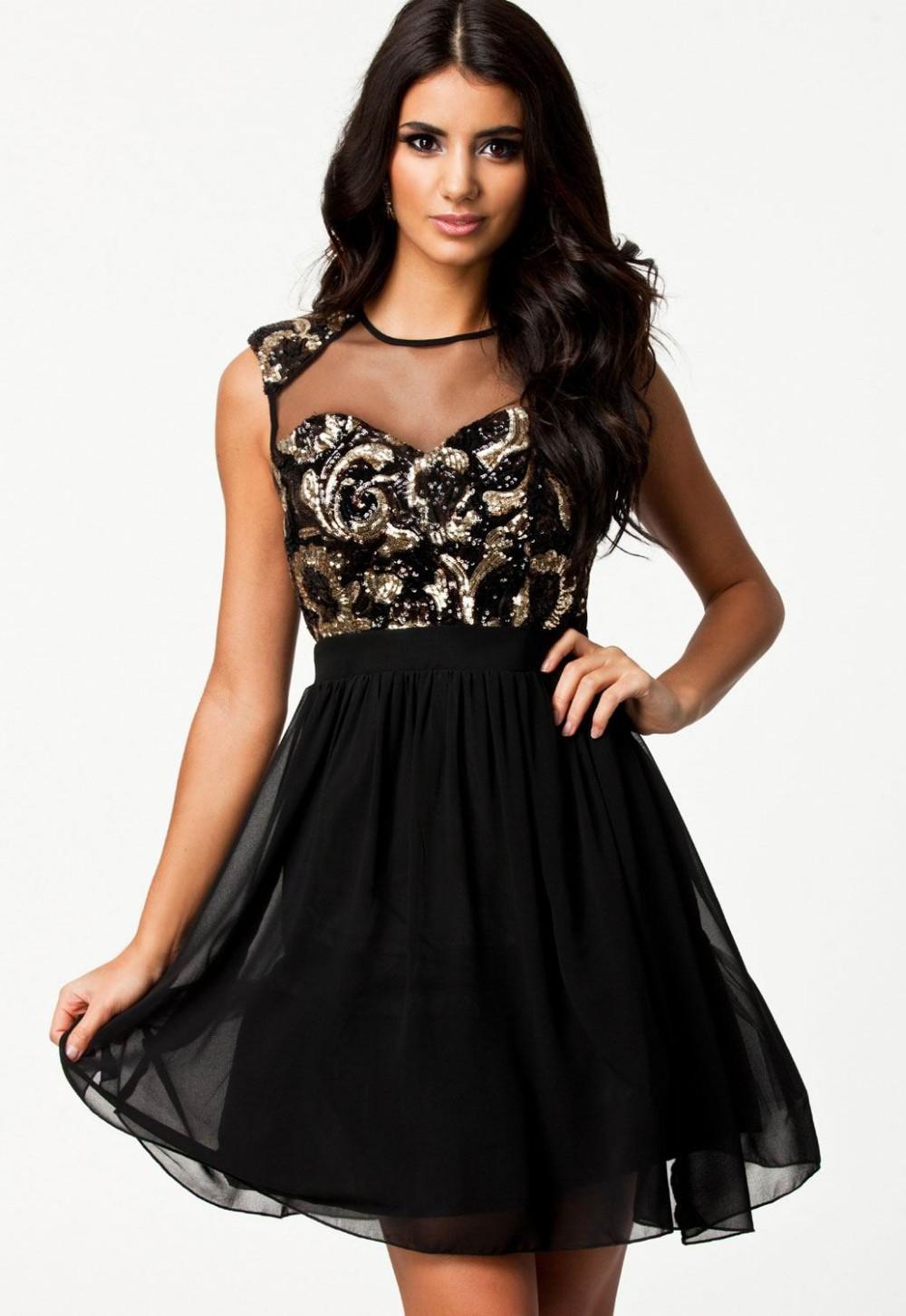 vestido de renda Sexy Paisley Sequin Skater Dress LC21045 fashion style summer dr
