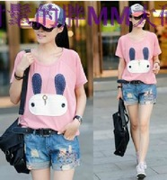 Plus size women clothing cartoon rabbit cute t-shirt xyy-53 casual t shirts L - 6XL ree shipping