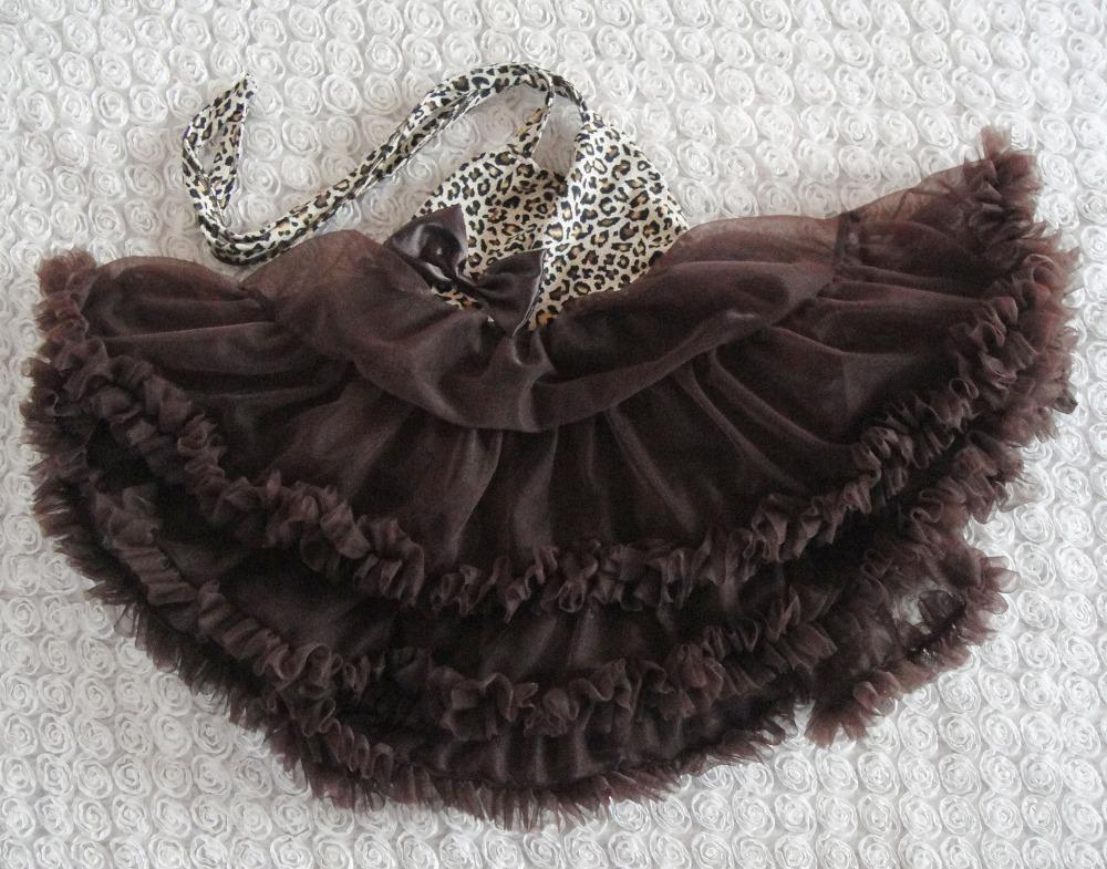 New baby girl's halterneck dress 2014 summer fashion brown leopard print princess dresses tutu dress beach dress baby clothes(China (Mainland))