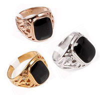 Wholesale/Retail & Generous 18 k gold plated & onyx & Hollow out & Brand men's ring.Buy 3, 15 discount.Free shipping.