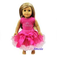 "18"" American Girl Doll Hot Light Pink Pettiskirt Rhinestone Princess Party Dress"