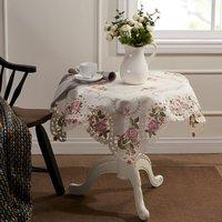 "English Rose Embroidery Cutwork  Square Table cloth 85X85CM SQ(33X33"")"