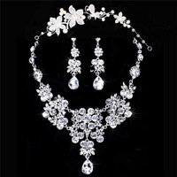 Fashion Women Platinum Plated Bride's Crystal Wedding Jewelry Sets of Necklace&Pendant Earrings Crown GJS168