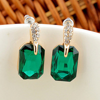 2014 18K Gold-plated Korean Version of the Elegant and Generous Square Crystal Earrings Jewelry Wholesale XY-E90