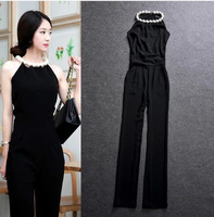 Korean ladies luxury high-quality queen Pearl Halter atmospheric field was thin piece wide leg pants jumpsuits Siamese pants